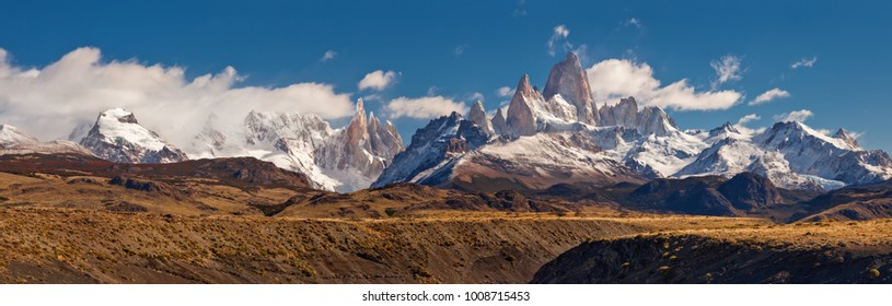 Fitz Roy mountain panorama, in the Southern Patagonia, on the border between Argentina and Chile.