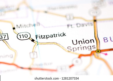 Fitzpatrick. Alabama. USA on a map