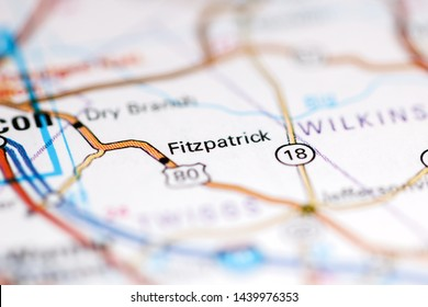 Fitzpatrick. Georgia. USA on a geography map