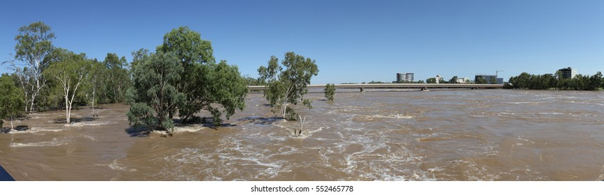 Fitzroy RIver flooding at Rockhampton, Central Queensland, Australia
