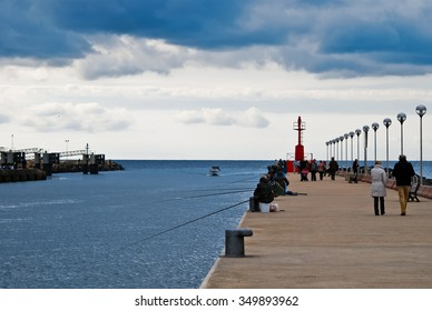 FIUMICINO, ITALY - OCTOBER 30 2010: View of the pier on a cloudy day.