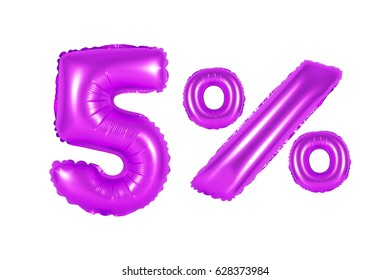 five 5 percent from purple balloons on a white background. discounts and sales, holidays and education