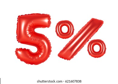 five 5 percent from red balloons on a white background. discounts and sales, holidays and education
