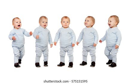 Five adorable babies learning to walk isolated on a white background
