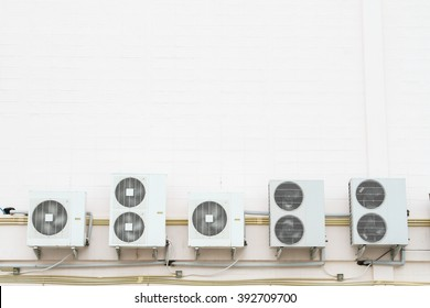 Five air condensing unit out side of wall