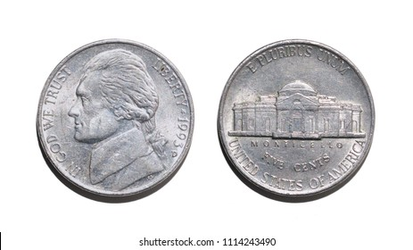 Five American cents, both parties of a coin, on a white background