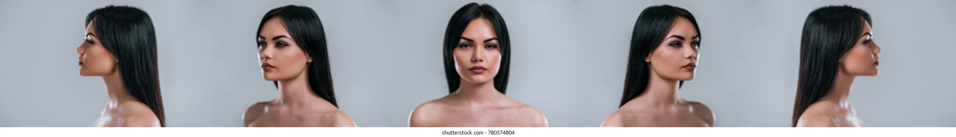 Five angle view of a young attractive woman face on grey background. Women care.