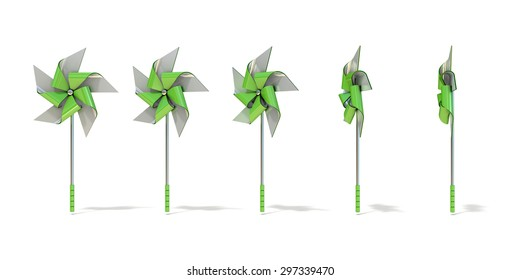 Five angles views of five sided pinwheel. 3D render illustration isolated on white background