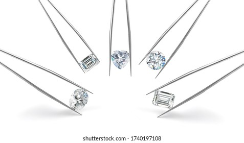 Five Assorted Diamond Shapes in Tweezers on White Background