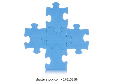 Five attached blue puzzles, isolated over white background
