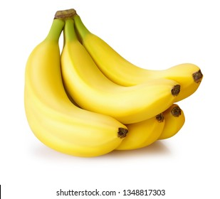 five bananas isolated on white background with clipping path and shadow