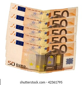 Five banknotes of fifty euros on white background