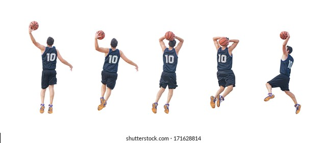 five basketball players on white background