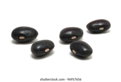 Five Black Beans Isolated On White