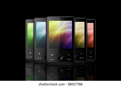 Liquid crystal display images stock photos vectors shutterstock five black cell phones on black background voltagebd Choice Image