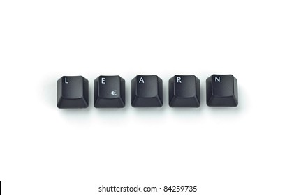 Five black keyboard keys forming LEARN word over white background
