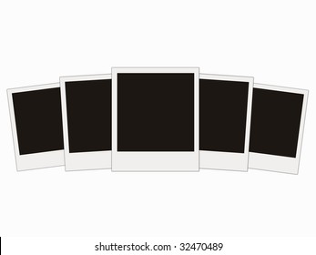 five blank photo isolated on white