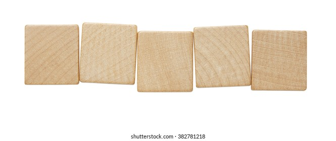 Five blank wooden tile pieces in a row isolated on a white background