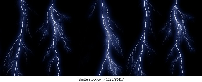 Five Blue lightning bolts on black background