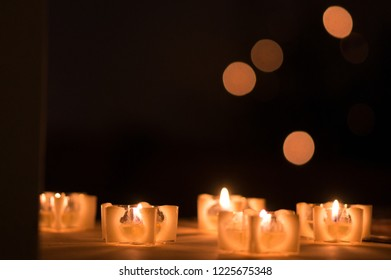 Five Candles with Bokeh Balls