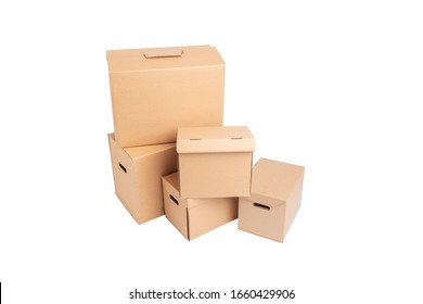 Five cardboard boxes isolated on white background. Empty space for your design.