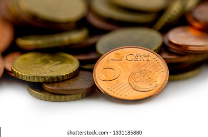 five Cent coins money change tip euro cent background idolated on white