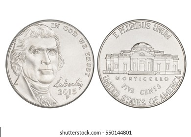 Five cents nickel US coin, year 2015. Isolated on white background with clipping path