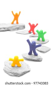 five cheerful plasticine people sharing different levels on stepping stones - team career concept - isolated on white