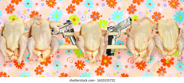 Five chickens sit on a perch with two pistols against a colorful floral background, like five friends, arm in arm and inseparable