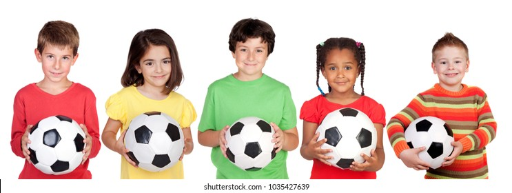 Five children with a ball isolated on a white background