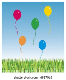 five color ballons free on green grass