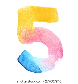 Five - Colorful watercolor numbers