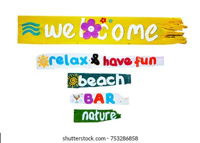 Five colorful wooden holiday signs -welcome, bar, beach, relax, fun, nature on isolated white background