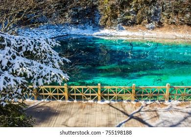 Five colour pond in winter season ,Jiuzhaigou national park. Sichuan, China