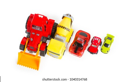 Five construction and racing colorful toy cars isolated on white, top view