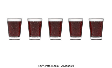 Five cups with a cola 3d rendering