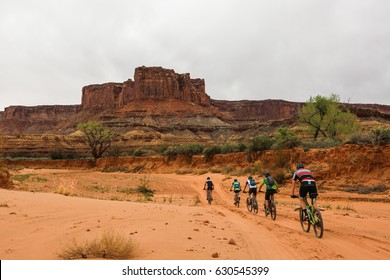 Five Cyclists riding on the White Rim Trail in Canyonlands National Park