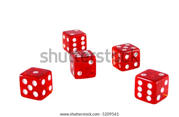 Five dice isolated on white
