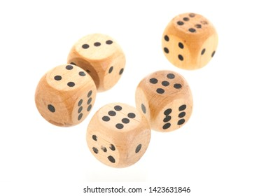 Five dices with different values isolated over white background