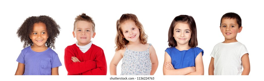 Five different children isolated on a white background