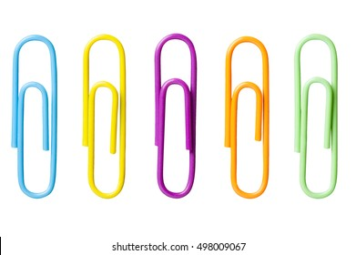 Five different colored paperclips isolated on white background for use alone or as a design element