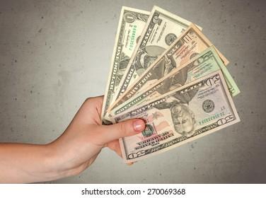 Five Dollar Bill, Currency, Human Hand.
