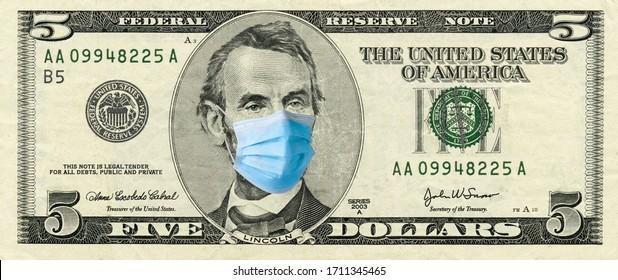 5-Dollar-Rechnung mit medizinischer Gesichtsmaske auf Abraham Lincoln