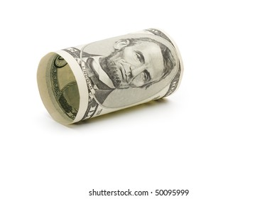 Five dollar bill over white background