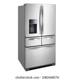 Five Door Bottom Refrigerator Isolated on White Background. Side View of Stainless Steel Side by Side Full Frost Free Fridge Freezer. Kitchen and Domestic Appliances
