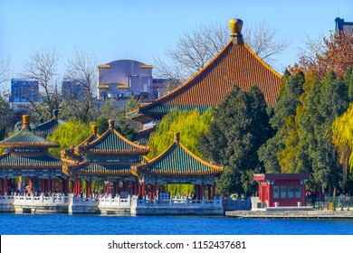 Five Dragon Pavilions Beihai Lake Park Jade Flower Island Beijing China Beihai Park is a public park, which was created in 1000AD.