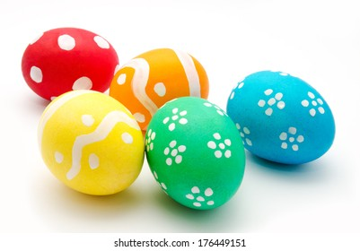Five easter eggs isolated on a white background