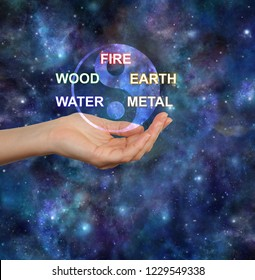 The Five Elements of Traditional Chinese Medicine -  yin yang symbol above a female cupped open hand and the words FIRE WOOD EARTH WATER METAL against a deep space background with copy space