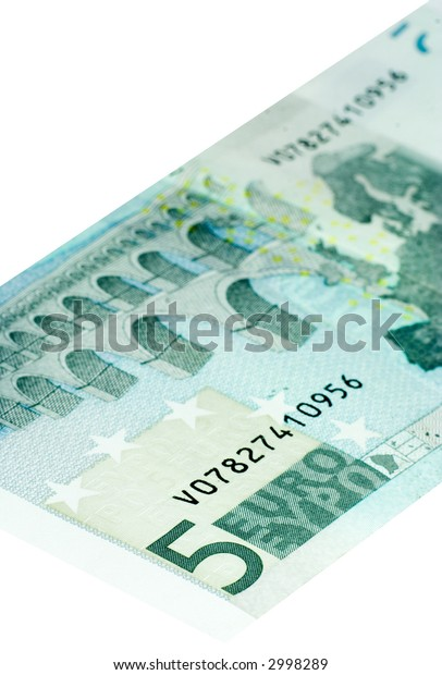 Five Euro bill isolated on a white background with focus on the 5.
