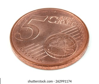 Five euro cent isolated on white background